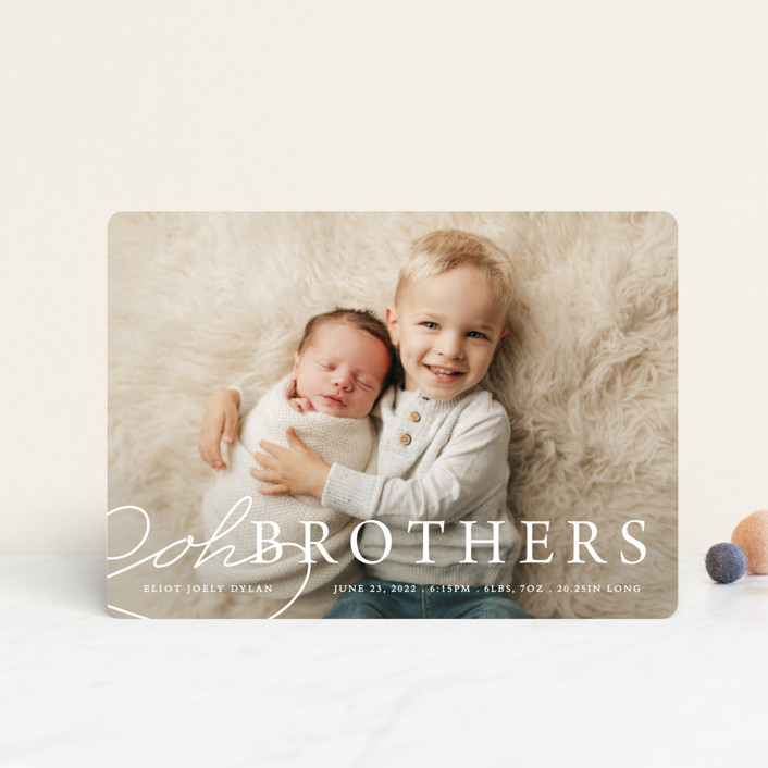 """""""Oh Brother"""" - Funny Birth Announcement Petite Cards in Snow by Bethany Anderson."""