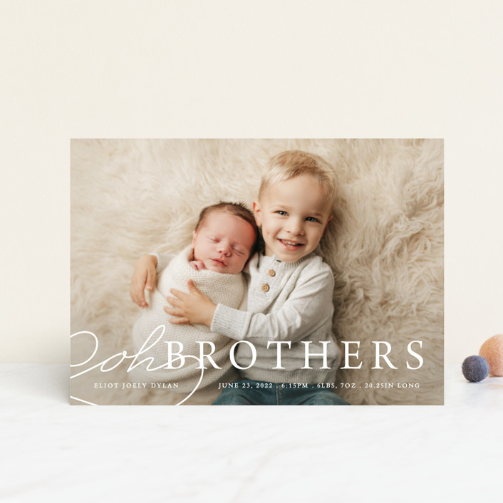 """Oh Brother"" - Funny Birth Announcement Petite Cards in Snow by Bethany Anderson."