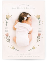 This is a pink petite birth announcement by Hannah Williams called Flower Child with standard printing on signature in petite.