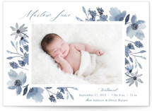 This is a blue petite birth announcement by Megan Cash called Dusty Floral with standard printing on signature in petite.