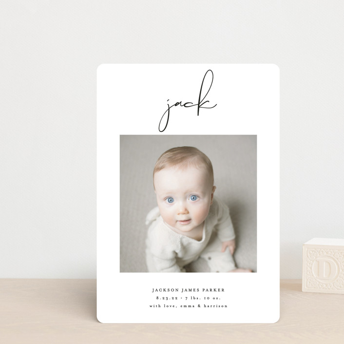 """""""Just Me"""" - Modern Birth Announcement Petite Cards in Midnight by Lehan Veenker."""