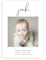 This is a black petite birth announcement by Lehan Veenker called Just Me with standard printing on smooth signature in petite.