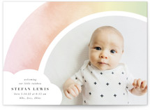 This is a pink petite birth announcement by Lori Wemple called Pretty Rainbow with standard printing on signature in petite.