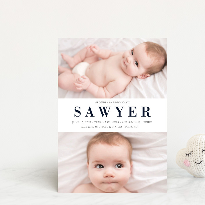 """""""Charmed"""" - Birth Announcement Petite Cards in Navy by Oma N. Ramkhelawan."""