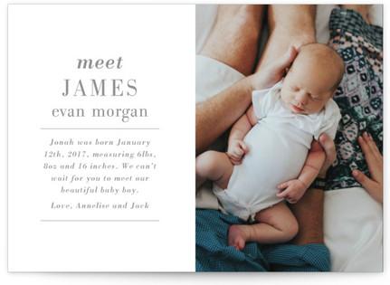 Editorial Keepsake Birth Announcement Petite Cards