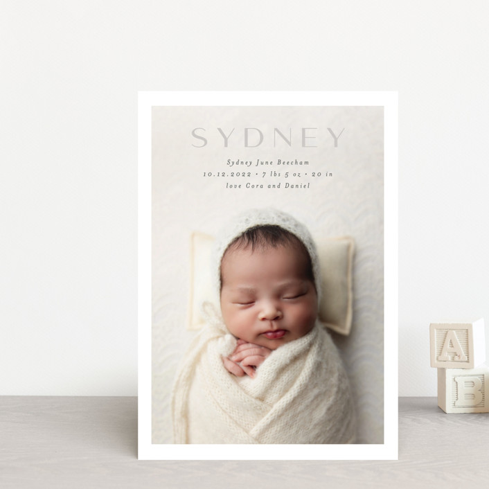 """serene debut"" - Birth Announcement Petite Cards in Cloud by Rebecca Durflinger."