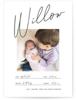 This is a black and white petite birth announcement by Katy Shen called Official with standard printing on signature in petite.