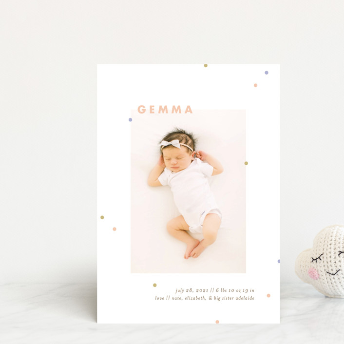 """dottie"" - Preppy Birth Announcement Petite Cards in Melon by Julie Murray."