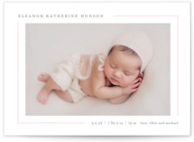 This is a pink petite birth announcement by Lauren Chism called Simply Serene with standard printing on smooth signature in petite.