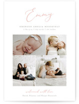 This is a pink petite birth announcement by Sarah Brown called Namely with standard printing on signature in petite.