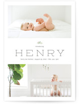 This is a white petite birth announcement by Poi Velasco called Blessing with standard printing on signature in petite.