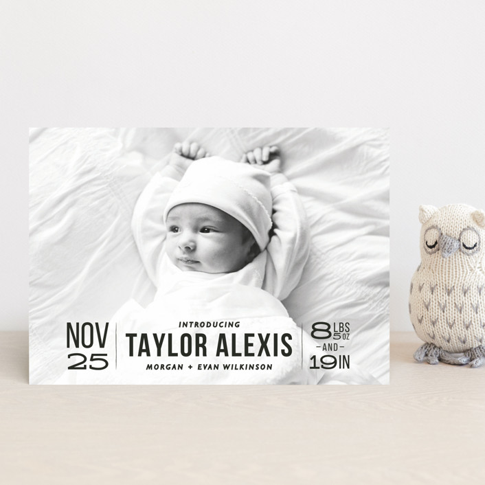 """Bold Beginnings"" - Birth Announcement Petite Cards in Pepper by 24th and Dune."