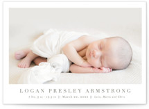 This is a brown petite birth announcement by Toast & Laurel called Menil with standard printing on smooth signature in petite.