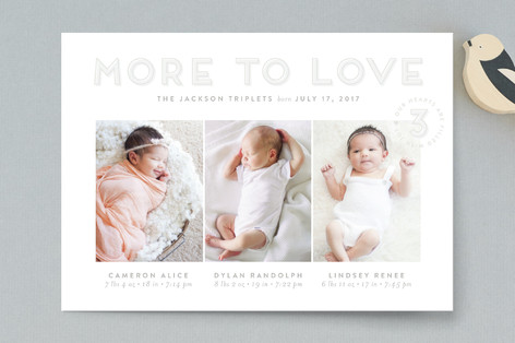 Triple the Love Birth Announcement Petite Cards