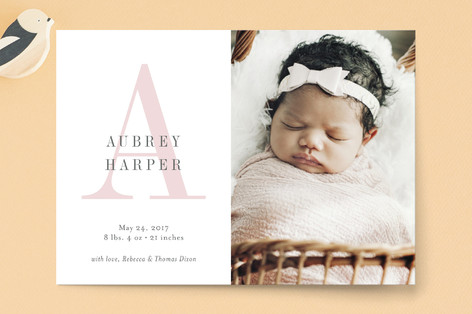 Soft Initial Birth Announcement Petite Cards