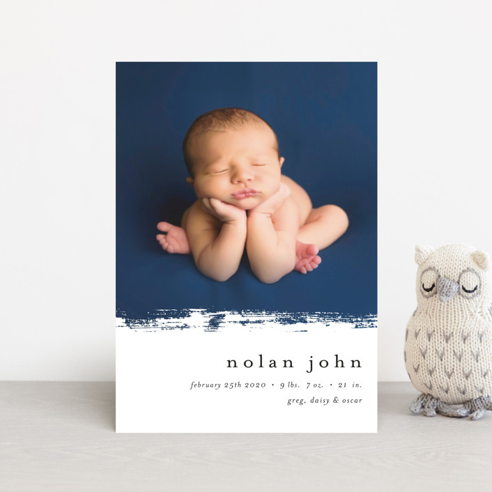 """Little Joy"" - Modern Birth Announcement Petite Cards in Cloud by Pixel and Hank."