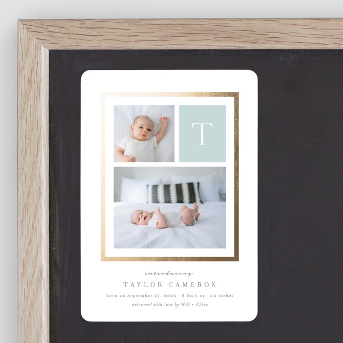 """Initially"" - Foil-pressed Birth Announcement Magnets in Slate by Carolyn MacLaren."