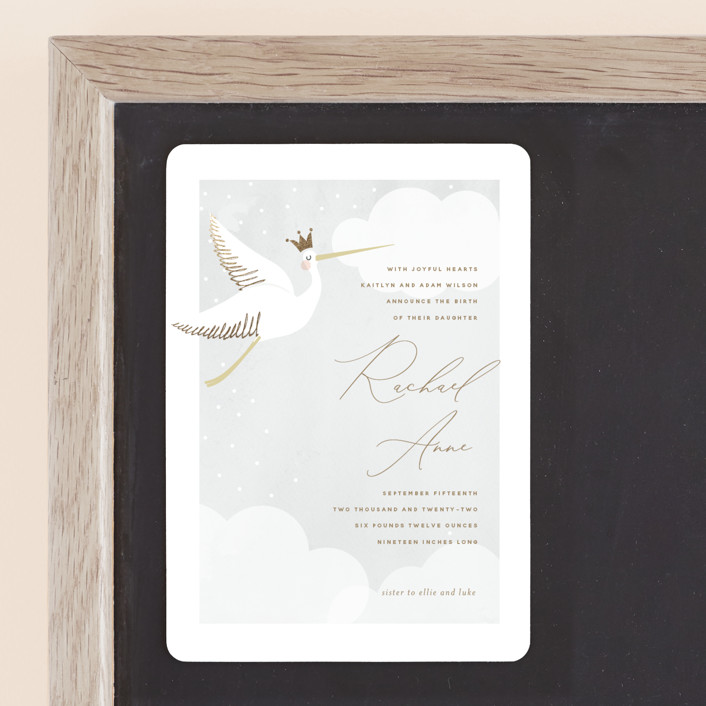 """""""Head in the Clouds"""" - Whimsical & Funny Foil-pressed Birth Announcement Magnets in Cloudy by Susan Brown."""