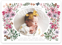 This is a green birth announcement magnet by Morgan Ramberg called Blossom Baby with foil-pressed printing on magnet paper in magnet.