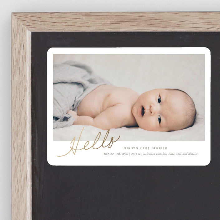 """The Sweetest Hello"" - Modern Foil-pressed Birth Announcement Magnets in Grain by Heather Francisco."