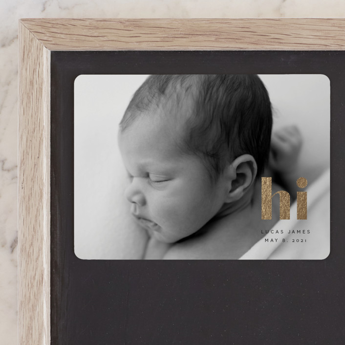 """Hi Baby"" - Foil-pressed Birth Announcement Magnets in Licorice by Angela Thompson."