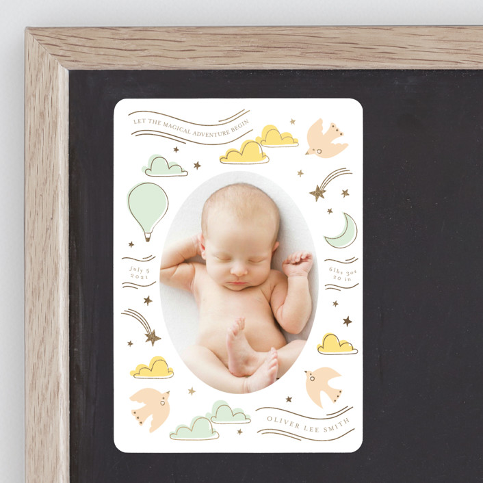 """""""magical adventure"""" - Whimsical & Funny Foil-pressed Birth Announcement Magnets in Mint by Angela Thompson."""