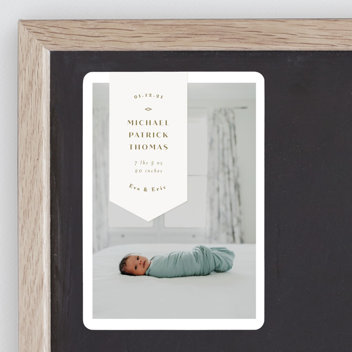 """""""Pennant"""" - Birth Announcement Magnets in Olive by Anastasia Makarova."""