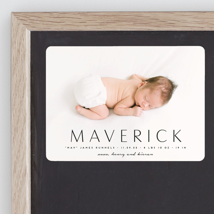 """""""Straight Forward"""" - Birth Announcement Magnets in Ebony by Kaydi Bishop."""