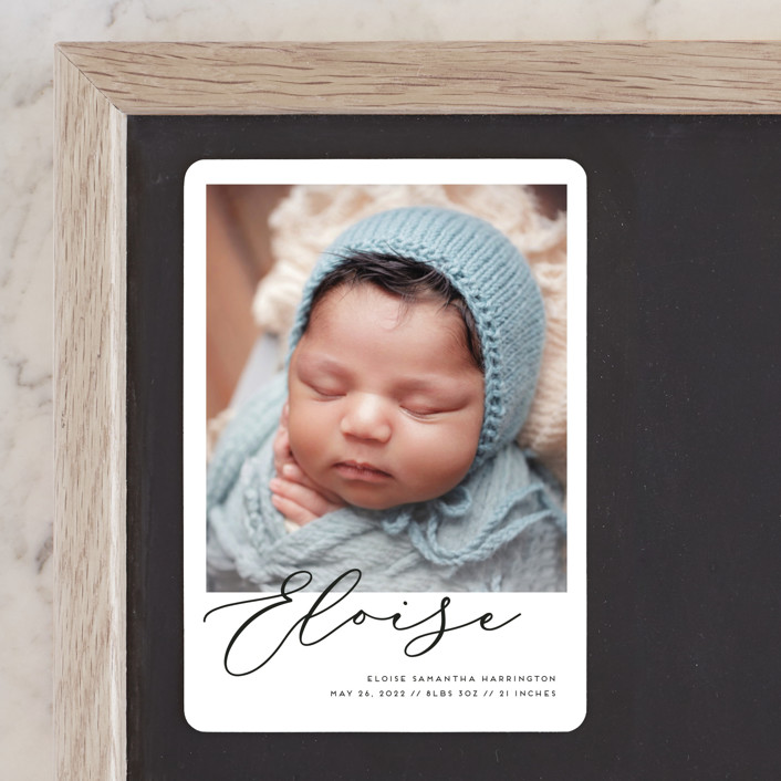 """""""First-Name Basis"""" - Modern Birth Announcement Magnets in Onyx by Genna Blackburn."""