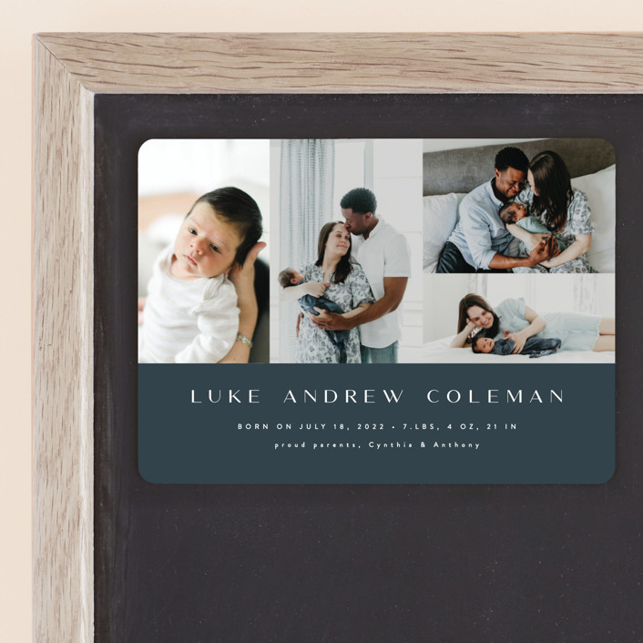 """Modern Album"" - Modern Birth Announcement Magnets in Grayish Blue by Ana Sharpe."