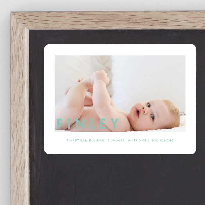 """Simply Baby"" - Modern Birth Announcement Magnets in Marshmallow by Susan Brown."