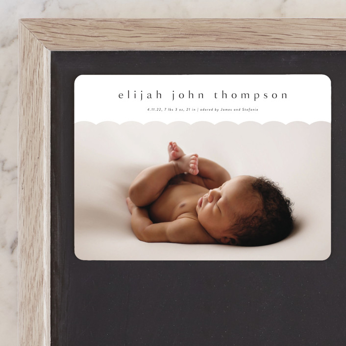 """Sweet Simplicity"" - Preppy Birth Announcement Magnets in Onyx by Kasia Labocki."