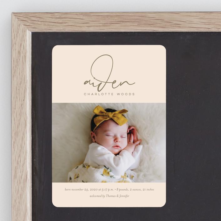 """Signature Babe"" - Birth Announcement Magnets in Peach by Jessica Williams."