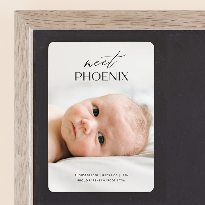 """""""Sweet Introduction"""" - Birth Announcement Magnets in Ink by Chryssi Tsoupanarias."""