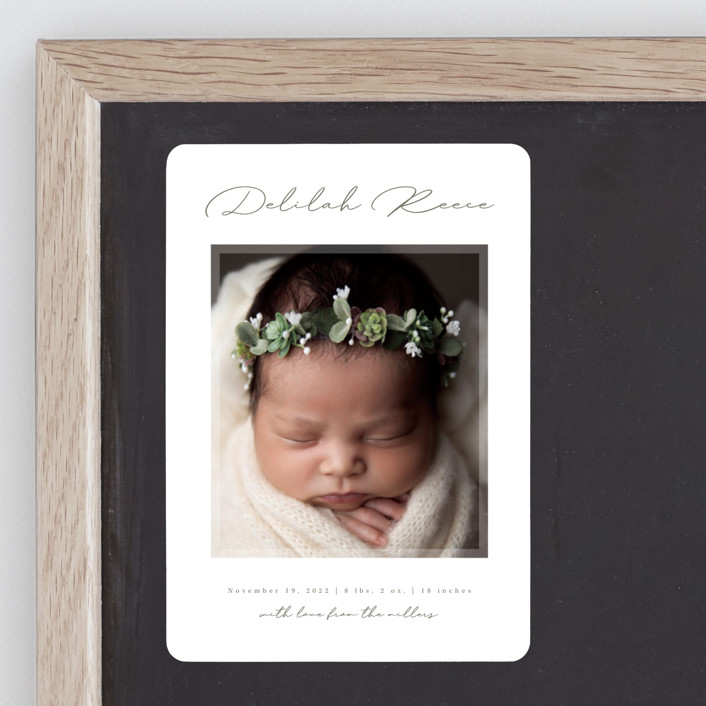 """""""Delilah"""" - Birth Announcement Magnets in Sage by Kacey Kendrick Wagner."""