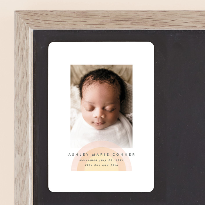 """""""our rainbow"""" - Modern Birth Announcement Magnets in Rose by Angela Garrick."""