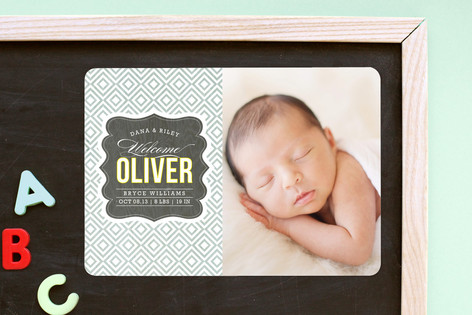 Vintage Paper Birth Announcement Magnets