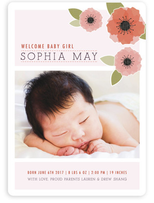 New Born Poppy Birth Announcement Magnets