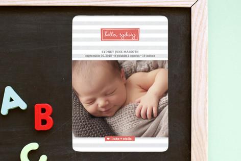 Striped Hello Birth Announcement Magnets