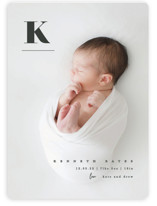 This is a grey birth announcement magnet by Creo Study called My alphabet with standard printing on magnet paper in magnet.
