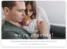 This is a black and white birth announcement magnet by Maria Hilas Louie called We're Parents with standard printing on magnet paper in magnet.