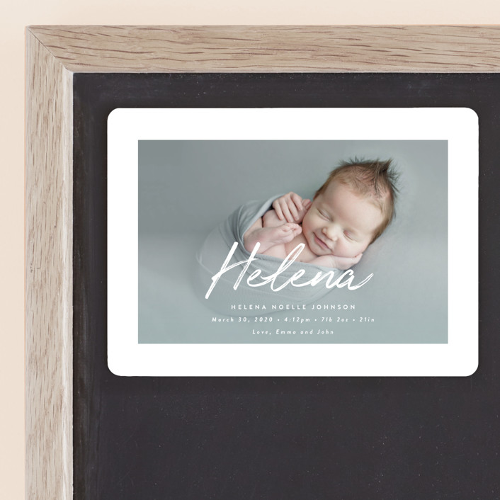 """""""Helena"""" - Birth Announcement Magnets in Pearl by Lisa Assenmacher."""