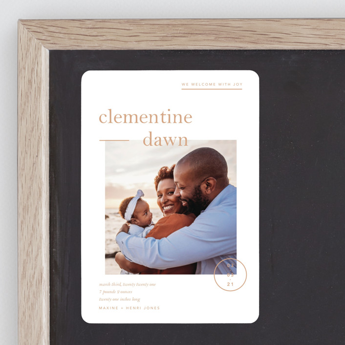 """Clementine"" - Preppy Birth Announcement Magnets in Peach by Blustery August."