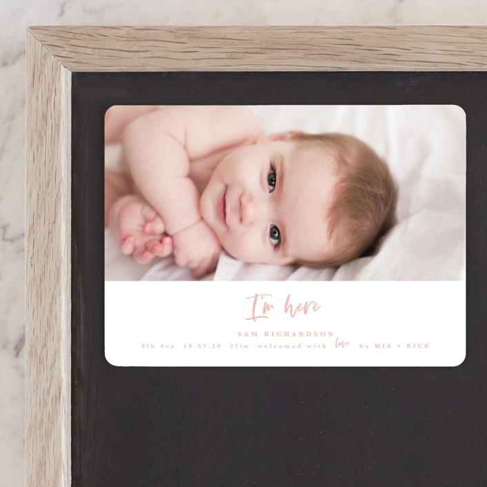 """I'm Here"" - Birth Announcement Magnets in Peach by Kanika Mathur."