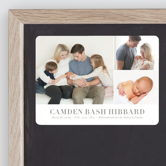 """""""Sweet Grid"""" - Birth Announcement Magnets in Stone by Shari Margolin."""