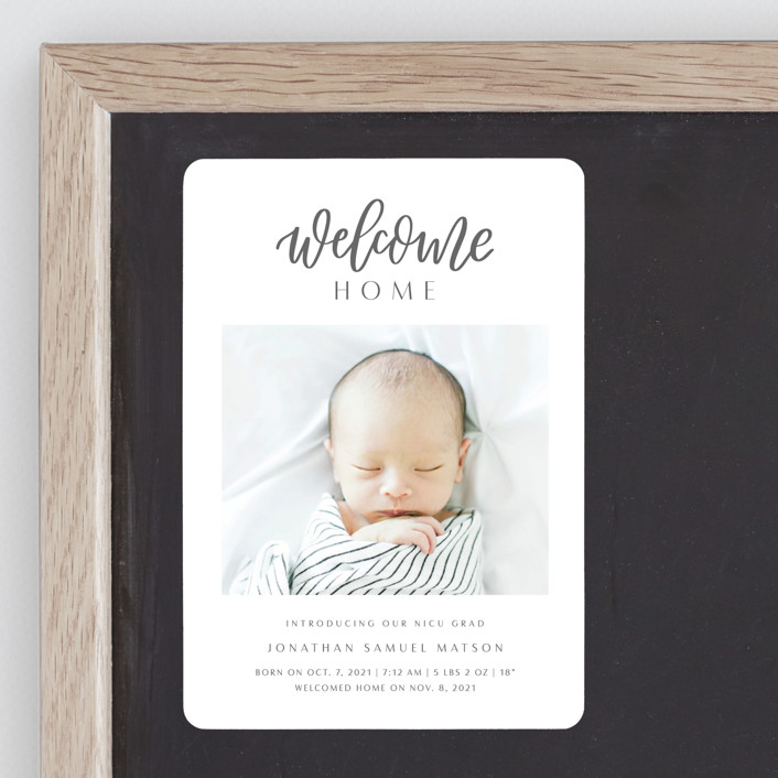"""""""Welcome Home Baby"""" - Modern Birth Announcement Magnets in Shadow by Carolyn Kach."""