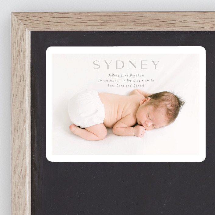 """""""serene debut"""" - Birth Announcement Magnets in Cloud by Rebecca Durflinger."""