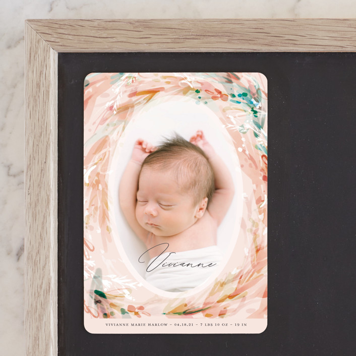 """Orsay"" - Birth Announcement Magnets in Coral by Kaydi Bishop."