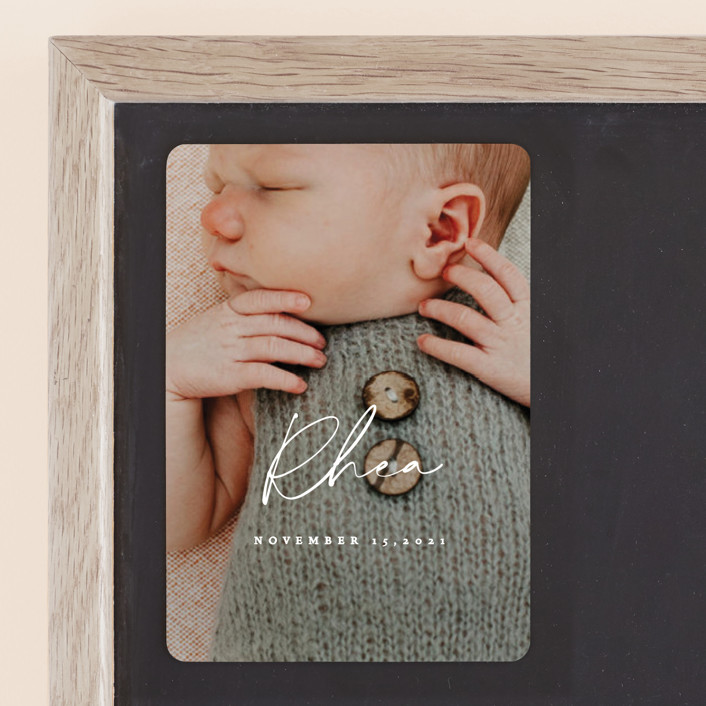 """""""Simplest"""" - Birth Announcement Magnets in Petal by Rebecca Daublin."""