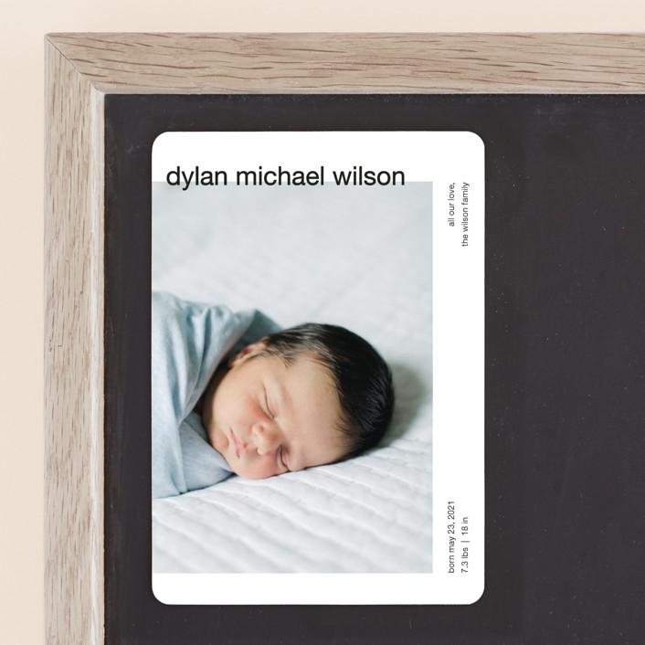 """modern header"" - Birth Announcement Magnets in Noir by JoAnn Jinks."